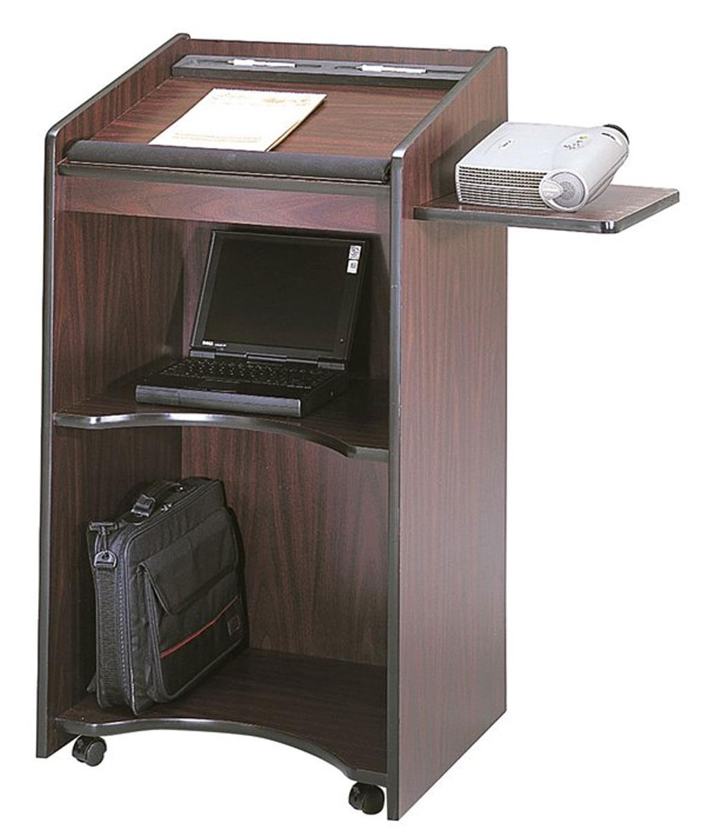 School Podium Mobile Lectern With Pull Out Side Shelf