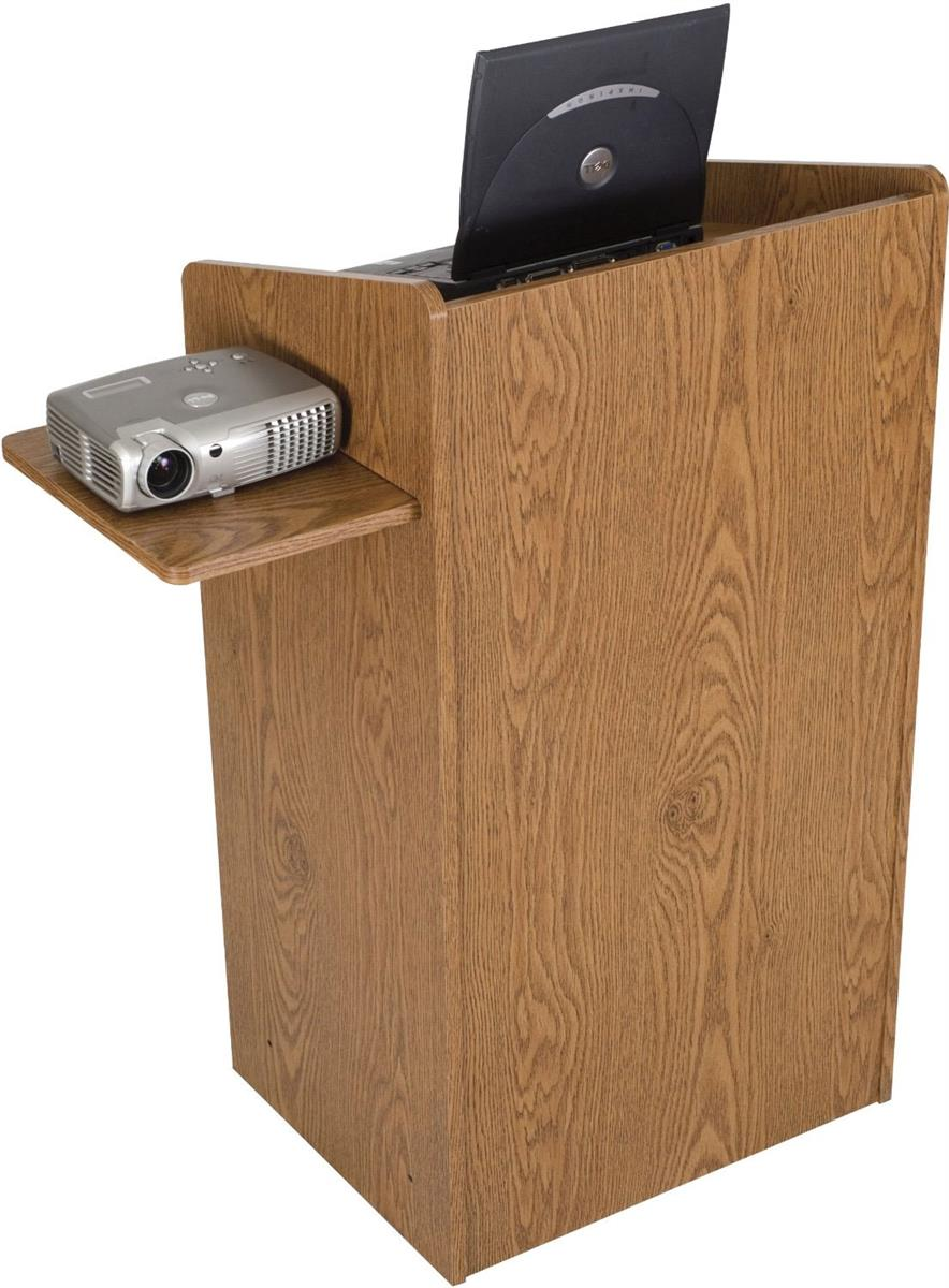 Floor Podium Lectern With Keyboard Tray And Side Shelf