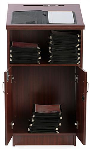 Locking Hostess Station | Adjustable Open Storage Shelf