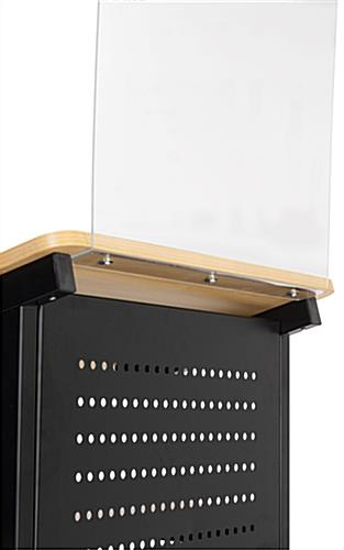 23 inch wide lectern with plastic shield and privacy frame