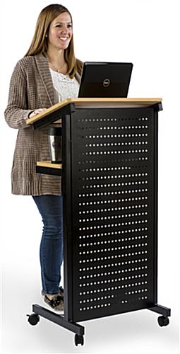 Mobile Presentation Stand with Microperf Privacy Shield