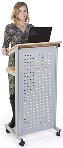 Privacy Shield Laptop Podium on Wheels