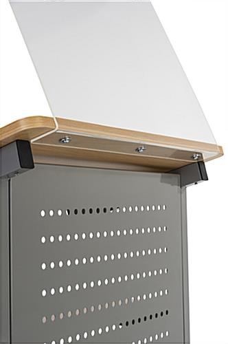 Podium with sneeze shield and heavy-duty steel construction