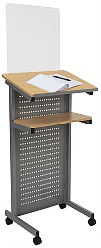 Podium with sneeze shield and maple top two-tier shelving