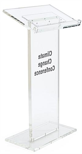 "Clear Custom Lecture Stand has a Front Logo of 14"" x 14"""