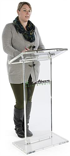 Vinyl Logo Transparent Podium, Clear