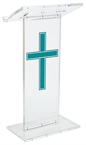 "Clear Pulpit with Traditional Cross has a Front Logo of 14"" x 24""h"