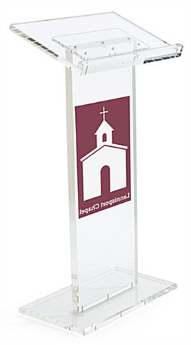Clear Lectern with Customizable Front and Acrylic Construction