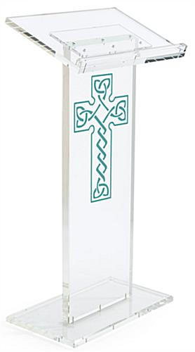 Clear Pulpit with Celtic Cross has Four Rubber Feet