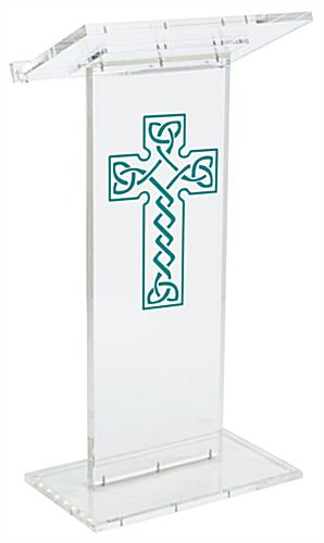 "Clear Pulpit with Celtic Cross has a Front Logo of 14"" x 24""h"