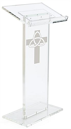 Clear Pulpit with Trinity Cross has Four Rubber Feet