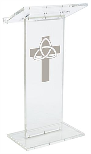 "Clear Pulpit with Trinity Cross has a Front Logo of 14""w x 24""h"