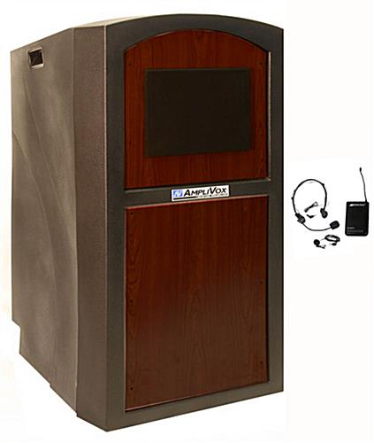 Lectern with Sound System and 2 Speakers