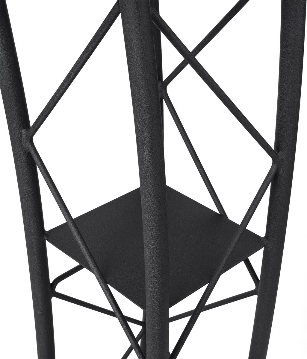 Displays2go Black Aluminum and Steel Truss Lectern with Curved Design and Built-In Shelf Textured Finish LCTTACBK 47-Inch Tall
