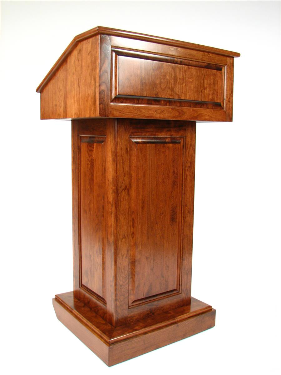 Solid wood podium converts to tabletop lectern