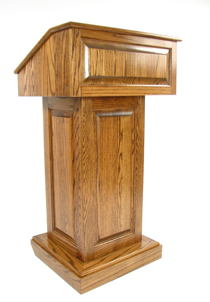 Solid Wood Podium Dark Oak Adjustable Lectern