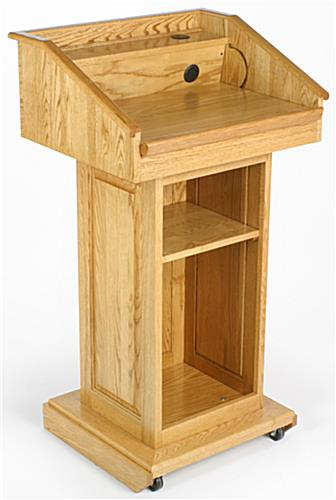 solid wood podium with light wood
