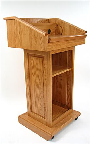 solid wood podium with medium stain