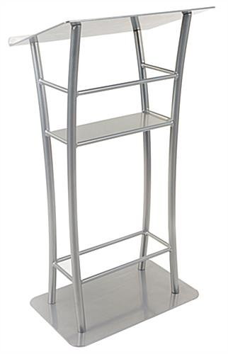 Curved Silver Steel Lectern