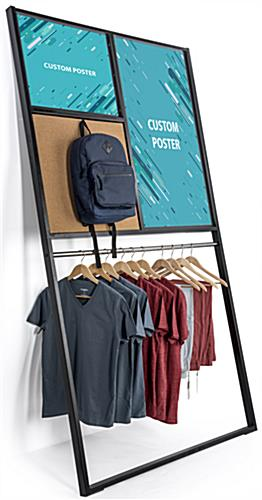 Custom Leaning Wall Merchandise Display Rack with Single Garment Hanger