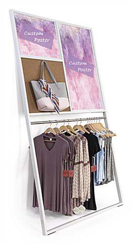 Merchandising hook included on leaning wall advertising display rack