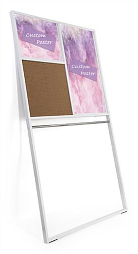 Corkboard area included on leaning wall advertising display rack