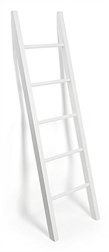 White leaning ladder rack display