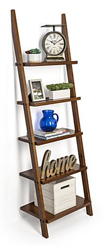 Wooden shelf ladder bookcase