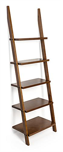 Angled frame shelf ladder bookcase
