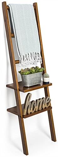 Leaning Ladder Rack Shelving with Three Hanging Rods