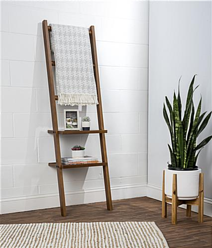 Leaning Ladder Rack Shelving with Mounting Brackets