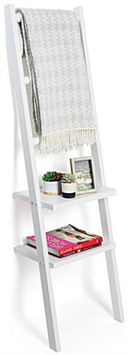 Leaning Ladder Rack Shelves with 3 Hanging Rails