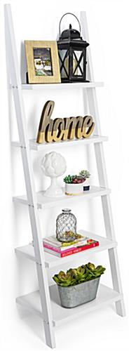 Leaning Ladder Shelves with 5 Storage Platforms