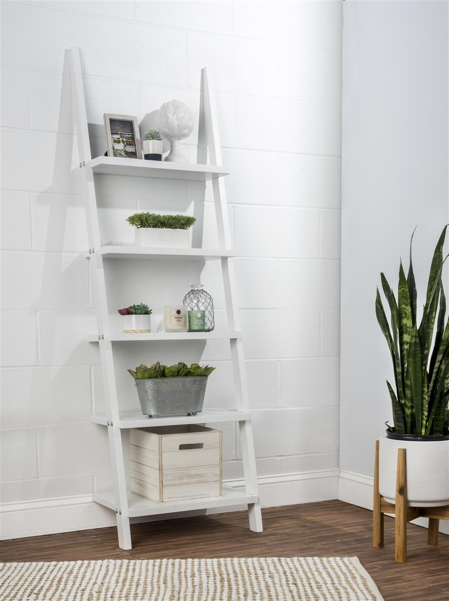 Wooden Leaning Ladder Rack With 5 Shelves White