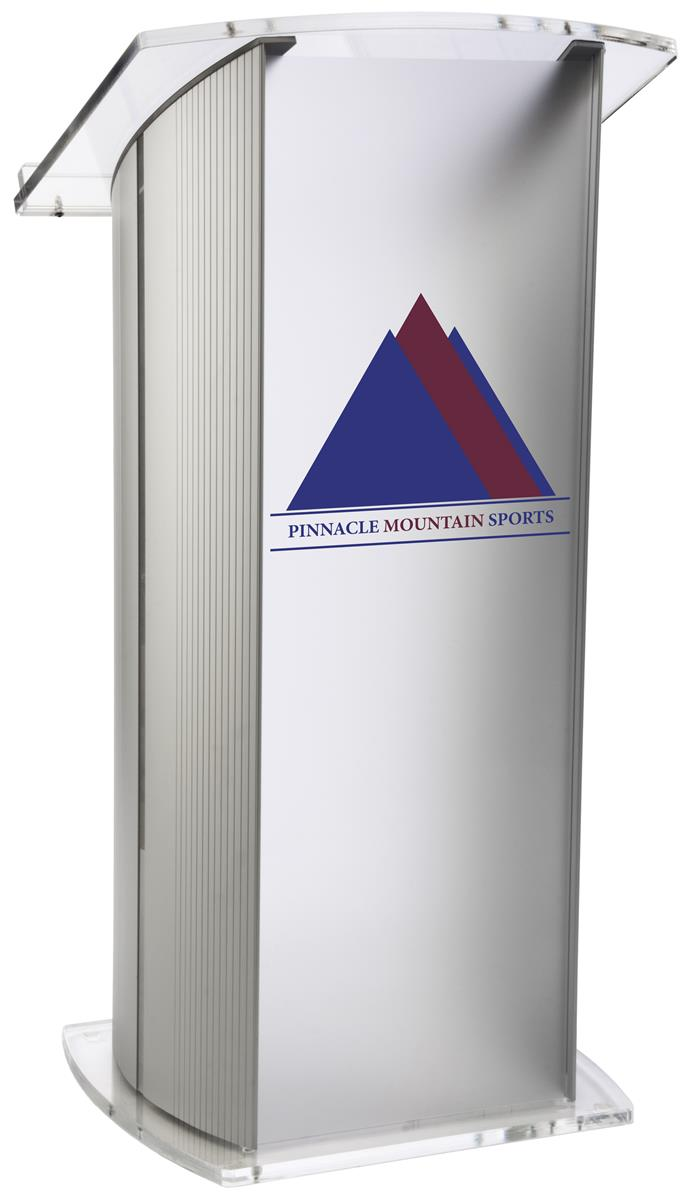 Frosted Plexiglass Podium With 2 Color Imprint 14 X 14