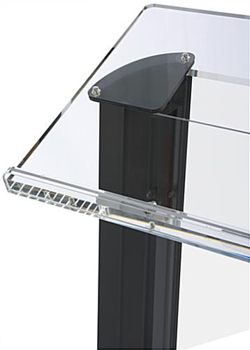 Clear & Black Podium with Surface for Laptop or Notes