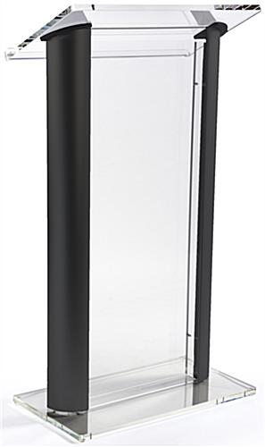 Black Podium Lectern Clear Front Acrylic Panel
