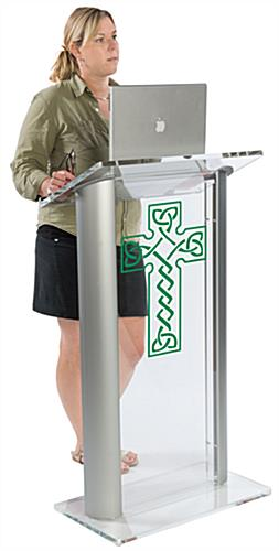 "Acrylic Pulpit with Celtic Cross & 0.5"" Thick Lip for Holding Presentation Notes"