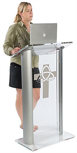 Acrylic Pulpit with Trinity Cross can be Printed in One of Ten Colors