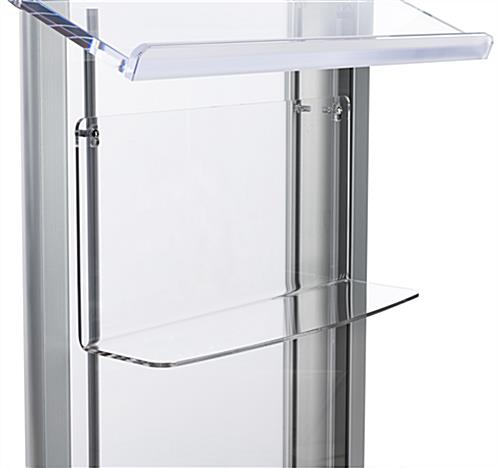 Clear acrylic shelf for LECTALAC series lecterns with pre-drilled holes
