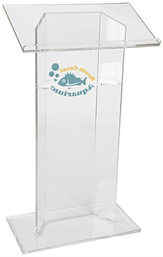 Custom Graphic Lucite Lectern, Ships Fully Assembled