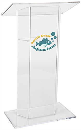 Custom Graphic Lucite Lectern, Weighs 42 lbs