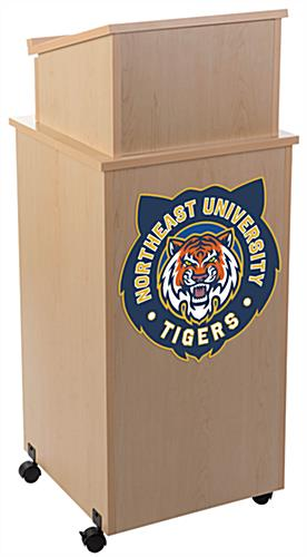 Personalized acrylic podium panel adds a professional look to your stand