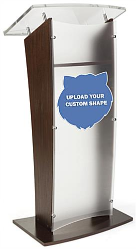 Personalized acrylic podium panel requires only 1 person to apply