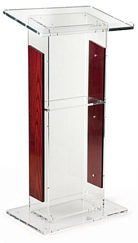 Tall Lectern Podium Acrylic W Red Mahogany Siding