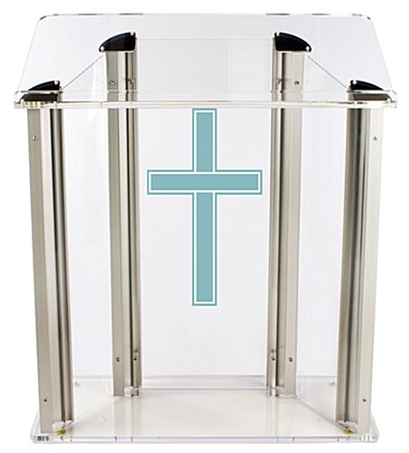 "Wide Pulpit with Traditional Cross is Made from .75"" Thick Acrylic"