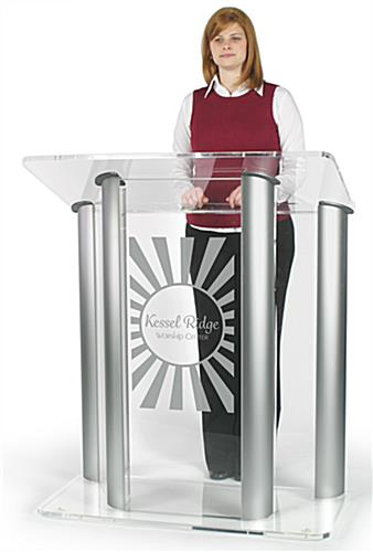 Floor Standing, Wide Acrylic Podium with Custom Logo