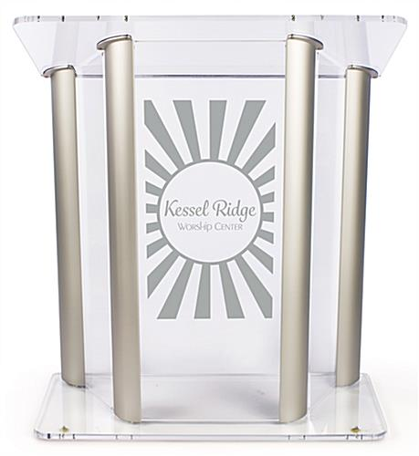 Wide Acrylic Podium with Custom Logo Made of Adhesive Vinyl