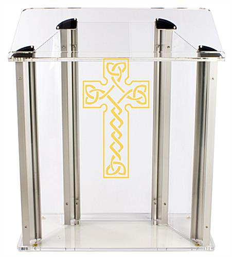 Acrylic Pulpit with Celtic Cross Ships Fully Assembled