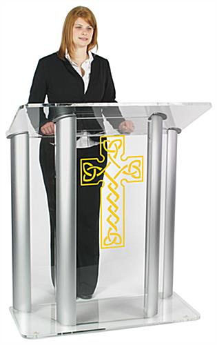 "Acrylic Pulpit with Celtic Cross is Made with 0.75"" Thick Plastic"